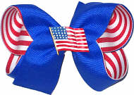 Electric Blue with Red and White Stripes and USA Flag Pin Medium Double Layer Bow