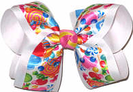 Large Candy Print Satin Ribbon over White