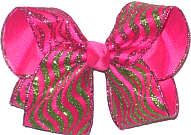 Large Apple Green Glitter Swirl Chiffon over Shocking Pink Double Layer Overlay Bow