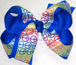 Rainbow Peace Sign over E;ectric Blu Large Double Layer Bow