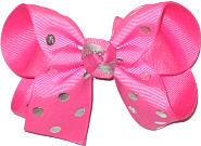 Medium Hot Pink with Silver Dots over Hot Pink Double Layer Overlay Bow