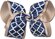 MEGA Navy and White Quatrafoil over Khaki Double Layer Overlay Bow