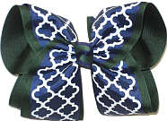MEGA Navy and White Quatrafoil over Forest Green Double Layer Overlay Bow