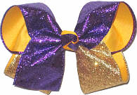 Large Purple and Gold Glitter over Yellow Gold Double Layer Overlay Bow