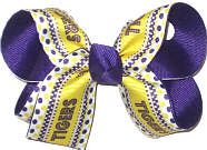 Medium Purple and Gold Tigers over Purple Double Layer Overlay Bow