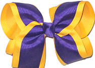 Large Regal Purple and Yellow Gold Double Layer Overlay Bow