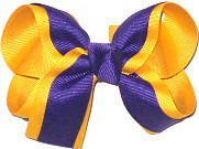 Medium Regal Purple and Yellow Gold Double Layer Overlay Bow