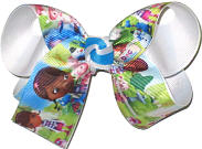 Medium Doc McStuffins over White Double Layer Overlay Bow