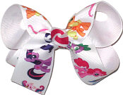 Medium My Little Pony over White Double Layer Overlay Bow