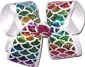 Large Hologram Rainbow Fish Scales over White Double Layer Overlay Bow