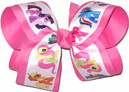 Large My Little Pony over Hot Pink Double Layer Overlay Bow