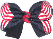 Medium Navy over Red and White Stripes Double Layer Overlay Bow
