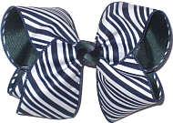 Large Navy and White Diagonal Stripes over Forest Double Layer Overlay Bow
