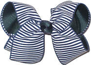 Large Navy and White Stripes over Forest Double Layer Overlay Bow