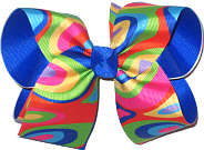 Large Multicolor over Electric Blue Double Layer Overlay Bow