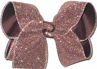 Large Light Brown Glitter Mesh over Brown Double Layer Overlay Bow
