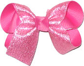 Medium Silver Glitter Chiffon over Hot Pink Double Layer Overlay Bow