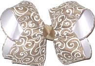 MEGA Khaki with White Swirls over White Double Layer Overlay Bow