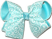 MEGA Light Aqua with White Swirls over Aqua Double Layer Overlay Bow