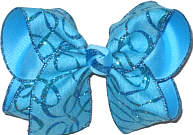 Large Mystic Blue with Glitter Swirls Double Layer Overlay Bow