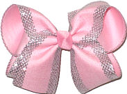 MEGA Light Pink with Silver Mesh Glittery Edging over Light Pink Double Layer Overlay Bow