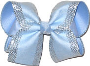 Large Millenium Blue with Silver Mesh Glittery Edging over Millenium Blue Double Layer Overlay Bow