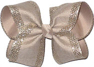 Large Oatmeal with Silver Mesh Glittery Edging over Oatmeal Double Layer Overlay Bow