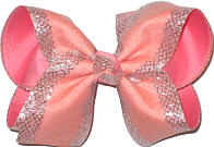 MEGA Light Coral with Silver Mesh Glittery Edging over Coral Double Layer Overlay Bow