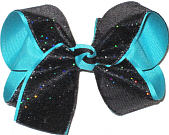 MEGA Black with Rainbows Sparkle over Blue Lagoon Double Layer Overlay Bow