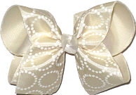 Large Light Ivory Satin with Glitter Circles over Antique White Double Layer Overlay Bow