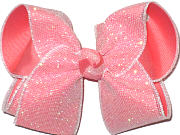Large White Shimmering Mesh over Coral Double Layer Overlay Bow