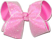 MEGA Raspberry Rose under Iridiscent Mesh Glitter Double Layer Overlay Bow