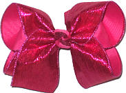 Large Shocking Pink Crinkle Lame over Shocking Pink Double Layer Overlay Bow