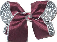 Large Burgundy over Gray and White Double Layer Overlay Bow