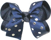 Medium Navy with Metallic Silver Dots over Black Double Layer Overlay Bow
