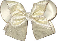 Large Platinum Metallic Mesh over Light Ivory Double Layer Overlay Bow