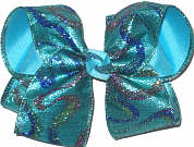Large Glitter Swirl Lame over Mystic Blue Double Layer Overlay Bow