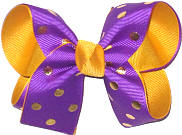 Medium Regal Purple with Metallic Gold Dots over Yellow Gold Double Layer Overlay Bow