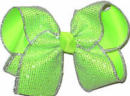 Large SIlver Glitter Mesh over Neon Lime Double Layer Overlay Bow
