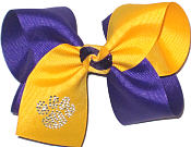 Large Regal Purple and Yellow Gold with Rhinestone Paw Print Bow