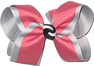 Large Dusty Rose over Millenium Gray with Black and White Knot Double Layer Overlay Bow
