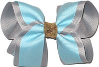 Large Light Blue over Millenium gray with Gold Glitter Knot Double Layer Overlay Bow