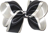 Large Black Satin over Light Ivory Satin with Black and White Knot Double Layer Overlay Bow