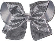 MEGA Pewter Metallic Mesh over Gray Double Layer Overlay Bow