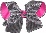 Large Pewter Metallic Mesh over Raspberry Rose Double Layer Overlay Bow