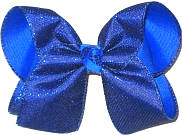 MEGA Century Blue Metallic Mesh over Electric Blue Double Layer Overlay Bow