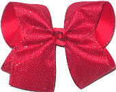 MEGA Red Metallic Mesh over Red Double Layer Overlay Bow