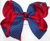 Century Blue with White Microdots over Red Large Double Layer Bow