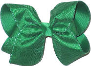 Large Emerald Metallic Mesh over Emerald Double Layer Overlay Bow
