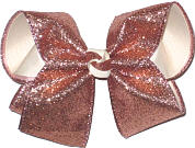 MEGA Rose Pink Glitter over Light Ivory Double Layer Overlay Bow